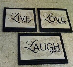 ... Live Love Laugh Plaques Wall Decor Signs Elegant
