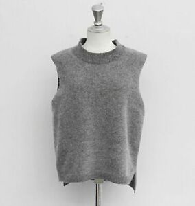 Cashmere Wool Women Sweater Vest Sleeveless O-Neck Knitted Long Spin Vest Casual
