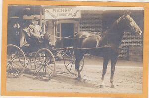 Real Photo Postcard RPPC - Man in Horsedrawn Wagon Rich & Co Dry Goods Coffin