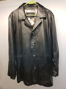 3df3c0a59 Wilsons Leather Pelle Studio Black Button Down Leather Jacket Coat ...