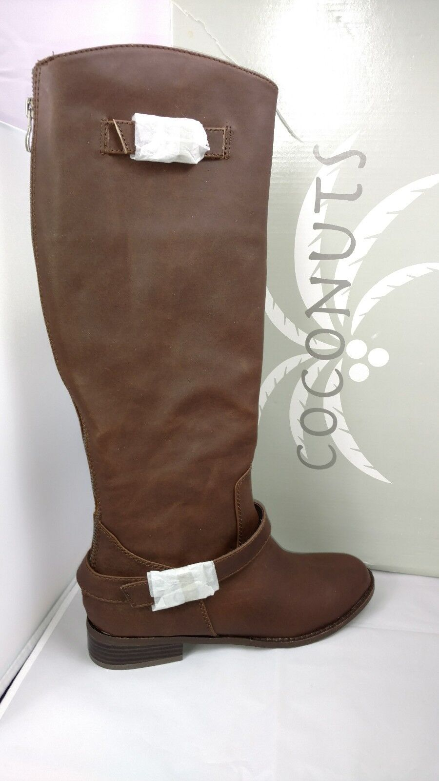 New Coconuts Plaza Brown Faux Leather Vegan Knee High Riding Boots Women's 8 M