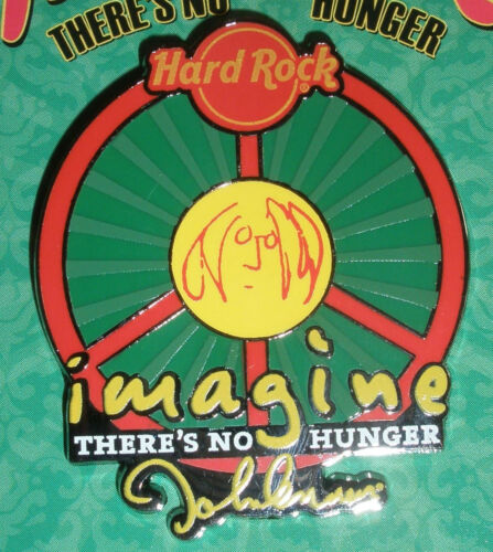 HARD ROCK CAFE 2010 John Lennon IMAGINE There's No Hunger Pin NEW on CARD!