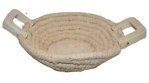 "Vintage Coiled Farmhouse Basket Fabric Rag Rug 14"" Wood Handles Haiti white Coil"