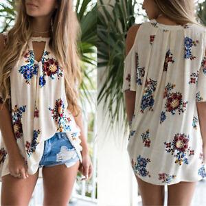 EP-Women-039-s-Floral-Print-Loose-Beach-Casual-T-Shirt-Blouse-Cold-Shoulder-Top-Pop