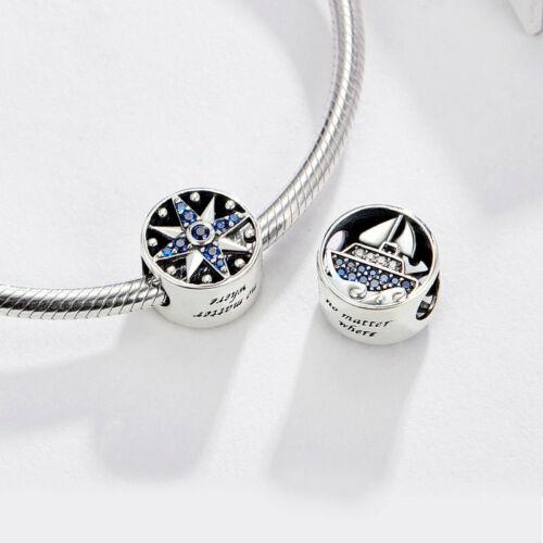 Européenne Argent 925 CHARMS PERLE CZ Émail Pendentif Pour Bracelets Collier Chaîne