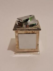 Vintage-Ronson-Table-Lighter-Marble-Effect-Silver-Plated