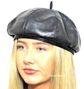 2113086e Black Beret Faux Leather Ladies Womens Fashion Hat #Rhianna #Gigi ...
