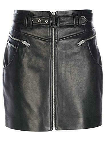 Luxury-Genuine-Leather-Lady-Women-Upper-Knee-Skirt-Front-Zippers-pockets