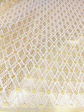 """CREAM GOLD THAI SILK DAMASK 2-TONE FABRIC 40""""W WEDDING DRESS SKIRT TABLECLOTH LL"""