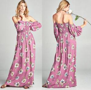 202888ab6448 Boho Floral Off Shoulder Peasant Maxi Dress Puff Balloon Sleeve ...