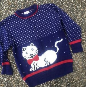 Vintage Ugly Sweater Ugly Res Cat Sweater Ugly Cat Sweater Cats. 1980/'s Red Cat Sweater