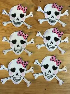 Skull-With-a-Touch-of-Glitter-6-Iron-On-Fabric-Appliques-Halloween-B