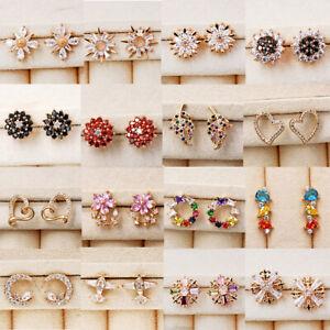 Trendy-Ear-Stud-Earrings-Flower-gem-18K-Gold-Filled-Women-Topaz-Zircon-Gift