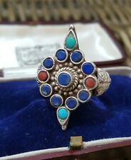 VINTAGE 925 STERLING SILVER RING, TURQUOISE, LAPIS LAZULI, CORAL, SIZE P½