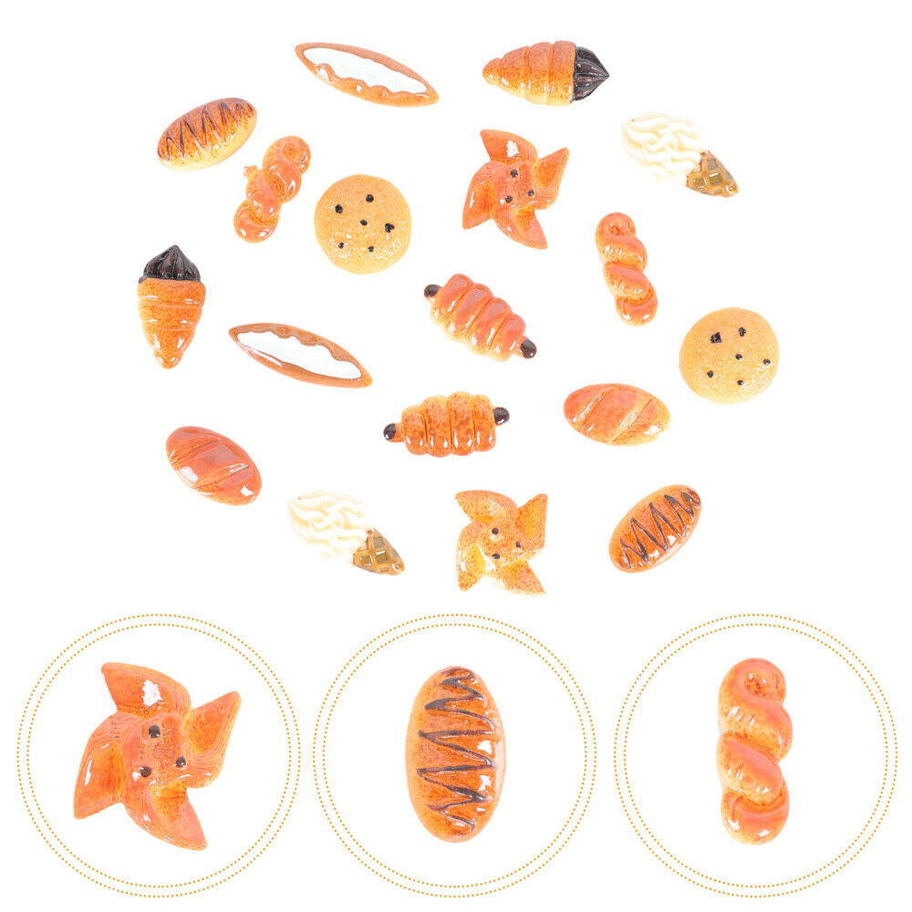 18pcs Case Charm Creative Bread Resin Craft Making Accessories