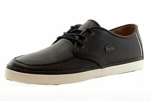 Image is loading LACOSTE-SEVRIN-LCR-SRM-BLACK-LEATHER-MENS-SNEAKERS-