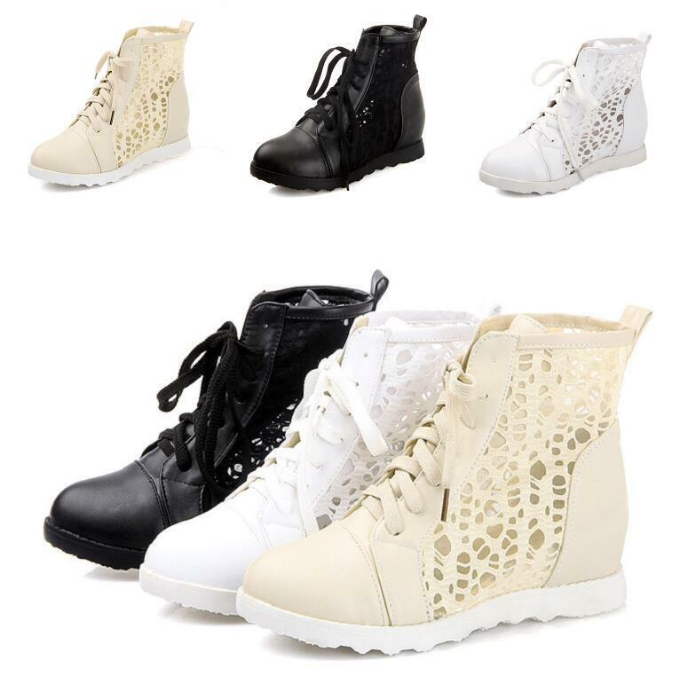 Women's hidden heels ankle boots lace up hollow lace sexy casuals leather size