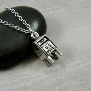Silver Mailbox Necklace - Postal Worker Jewelry - Mail Carrier Mailman Gift NEW