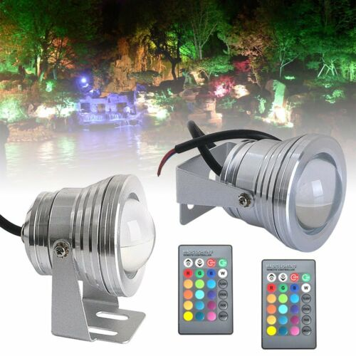 2//4Pcs Waterproof 10W RGB LED Outdoor Color Changing Flood Light Garden Lamp