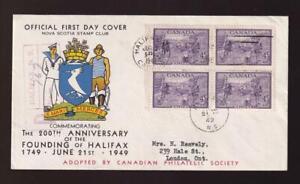 Canada FDC 1949 sc#283 Founding of Halifax block, Nova Scotia Stamp Club cachet