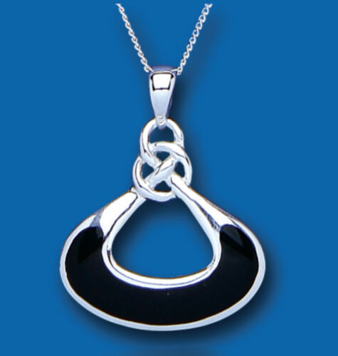 """Details about  /Sterling Silver Onyx Pendant 18/"""" Chain Natural Stone 925 Hallmark British Made"""