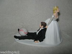 Baseball Wedding Cake Topper Bride Groom