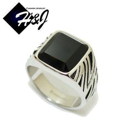 MEN's Stainless Steel Black Onyx Silver Black Ring Size 7-13