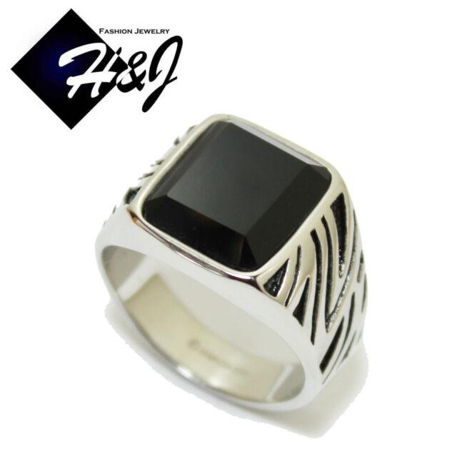 MEN's Stainless Steel Black Onyx Silver Black Ring Size 7-13