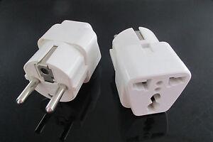 2x us uk gb au hk to european korean schuko outlet plug for Outlet b b