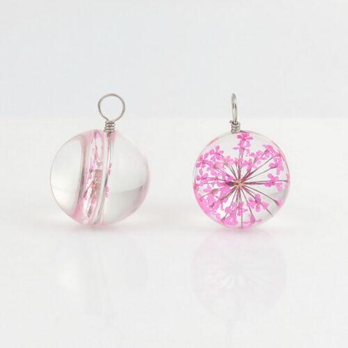 2STKL.Glas Charms Anhänger für Halskette Kette Rosa Trockenblume Klar Round