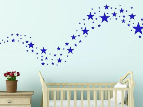 Gold Silver White Solid Stars Removable Wall Stickers Kids ANY COLOUR*