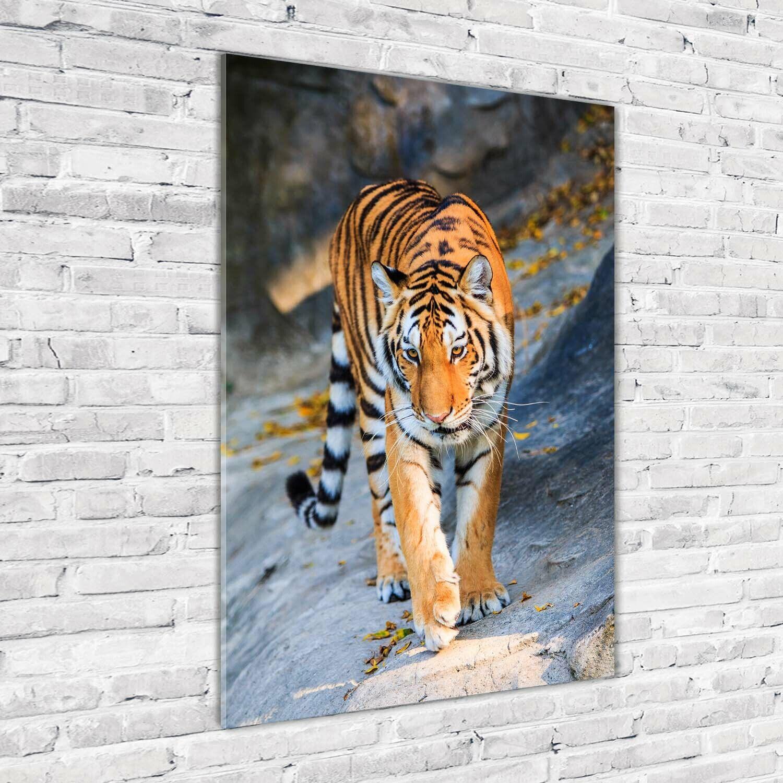 Wand-Bild Kunstdruck aus Hart-Glas Hochformat 70x100 Tiger