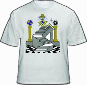 Details about Freemason T-Shirt - Masonic Apparel - Colorful Masonic Steps  with Double Pillars