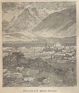 A0624 Corinto E Il Monte Parnaso - Stampa Antica Del 1911 - Xilografia