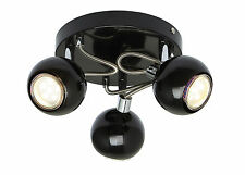 GU10 Round Retro Dome Black & Chrome Ball 3 Way Ceiling Light Fitting Spots LED