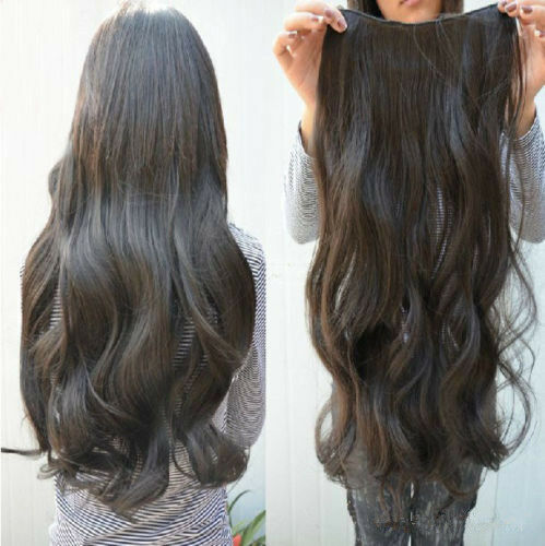 Full Head Clip Curly/Wavy Synthetic Hair Extension Fashion Women