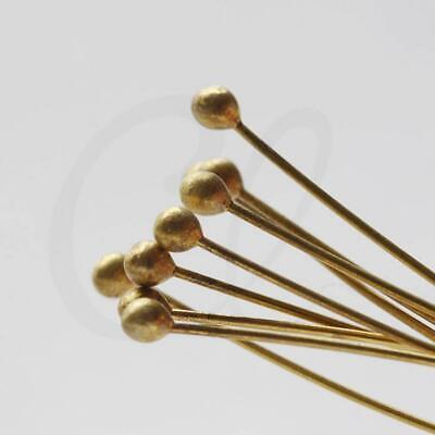 60x0.6mm Brass Base Head Pins CW-3280C-I-493 100 Pieces Raw Brass Eye Pin