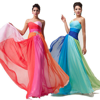 Sensuous Lady Chiffon Evening Cocktail Prom Long Bridal Attire Gown Party Dress