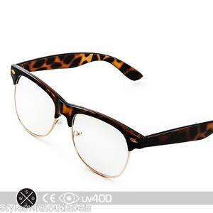 Clear Lens Gold Frame Glasses : 80s Vintage Tortoise Gold Frame Clubmaster Clear Lens ...