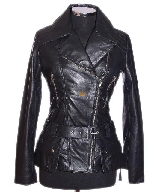 Diaz Black New Ladies Womens Retro Casual Designer Real Lambskin Leather Jacket