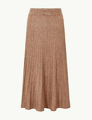 M/&S Light Tan Textured Knitted Midi Skirt Size Small RRP £35