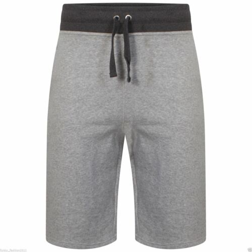 Mens Plain Gym Fleece Jogger  3//4 Shorts Elasticated waist Running Zip Pockets