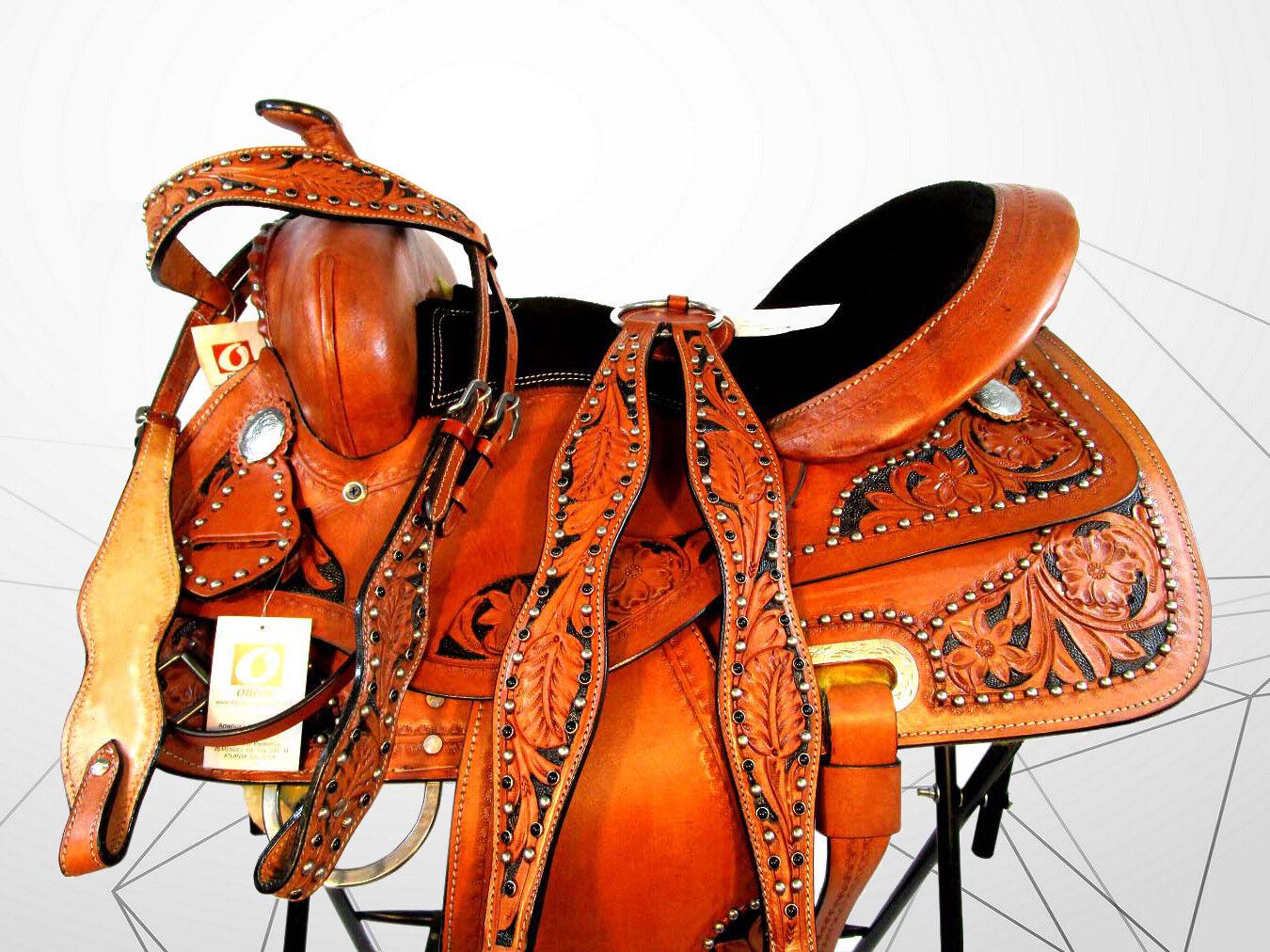 Hecho a mano western cañón silla Fileteado Trail placer Tachuela del caballo Set 14 15 16