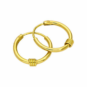 Gold-Plated-Sterling-Silver-Sleeper-13mm-Hoop-Earrings-with-Wire-Coil