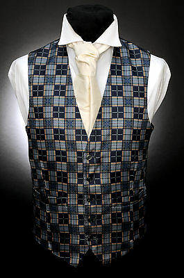 W - 528 Green And Gold Checkered Formal Wedding Waistcoat Komplette Artikelauswahl
