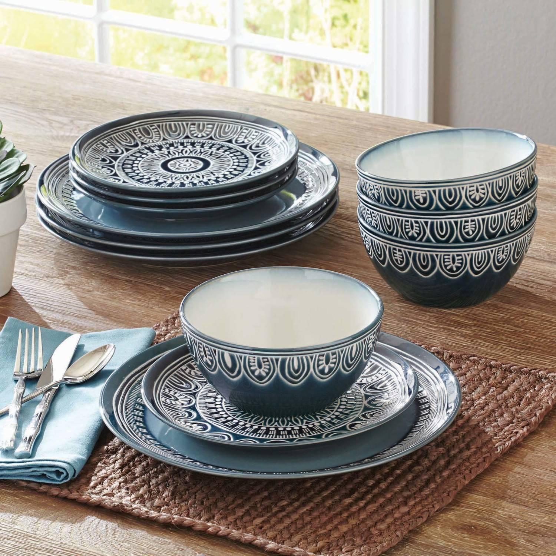Exotic Dinner Set Dinnerware Ceramic bluee Teal 12 Piece Meals Plates Plate Bowls