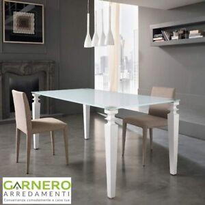 Dettagli su Tavolo da pranzo 170x90x76CM GLAMOUR Stones con piano in vetro  temperato bianco