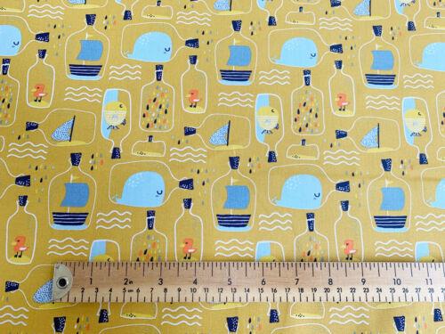 Childrens Tela ~ Peces /& barcos en botellas ~ material de tela de algodón Craft Metro
