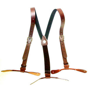 Brown-Leather-1inch-wide-Suspenders-Old-West-Brass-Buckles-Button-leather-Ends
