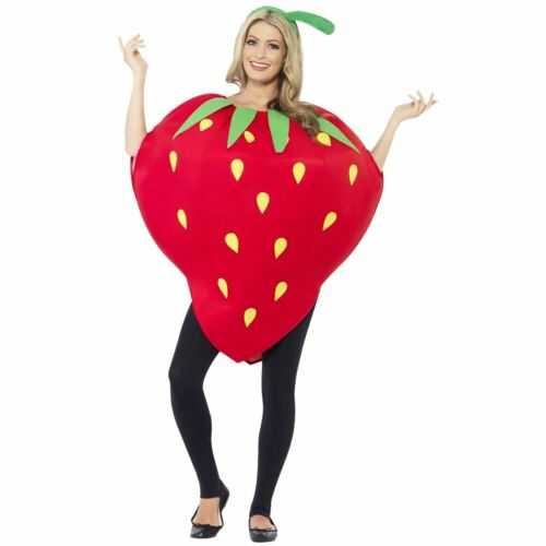 Adult Strawberry Costume Food Summer Fruit Red Fancy Dress Costume Party Ladies